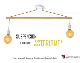 Pendant light Asterism* 2 bulbs, white and mustard scandinavian chandelier