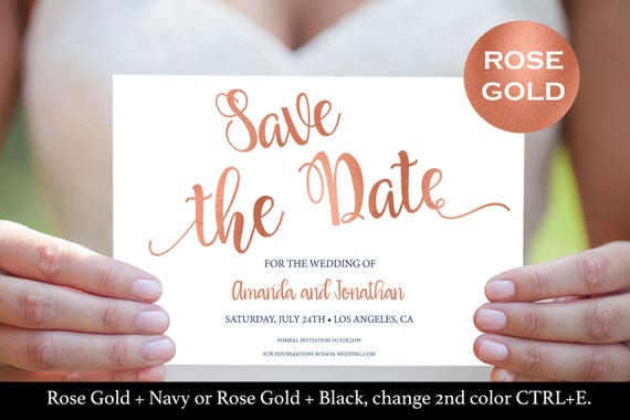 Rose Gold Save The Date Cards - Faux Foil Save The Date Template - Save The Date Rose Gold Foil Printable - Downloadable wedding  #WDH764190