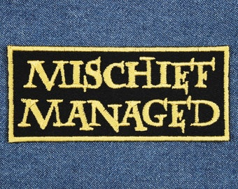 """Mischief Managed Patch – 1.75"""" x 4"""" Potterhead Patches – Marauders Patch – Geek Patch – Patch for Jacket – Fandom Patch – Nerd Patch"""