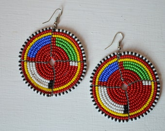 African Maasai Beaded Dangle Earrings | Beaded earrings | Multi color Earrings | Round Earrings | Elegant Earrings | Gift for Her