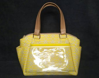 The Annette Display Purse, Handbag Purse with Clear Pocket, Handbag for Business