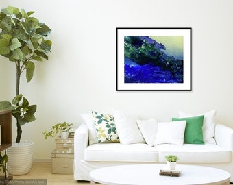 Acrylic Modern Abstract Painting-Print -Blue/Lime/Green/Lilac, by Karen Towey