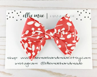 Baby, Toddler, Girls Fabric Bow Headband or Hair Clip  -  Coral Red