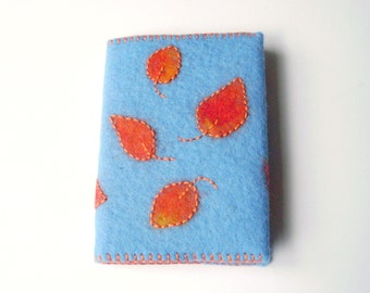 Book cover sheet magic, notebook, diary, autumn, leaves, embroidery