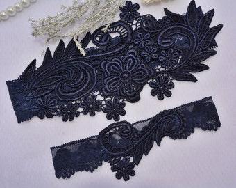 Bridal Garter, Dark Blue Garter, Wedding Garter, Blue Lace Garter, Bridal Garter Set, Something Blue, Wedding Garter Blue, Handmade Garters
