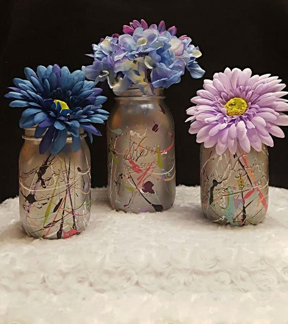 Paint Splatter Mason Jar Vase Set
