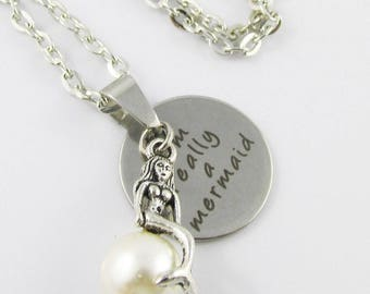 I'm Really a Mermaid Charm Necklace 45cm Silver Tone Chain