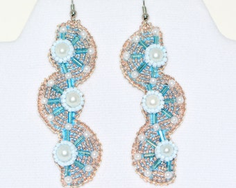 "Bead Embroidered Earrings ""Sea Horses"""