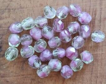 Mint Rose Czech Glass Faceted Round Beads - 30 pcs - 6mm - glass beads - faceted round - color mix - green pink - garden bead