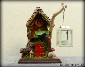 Fairy house/Handmade/Home decor/Wooden house/Gnome house/Pixie house/House of forest elf/Candle holder/Unique/Thetreeoflifeart