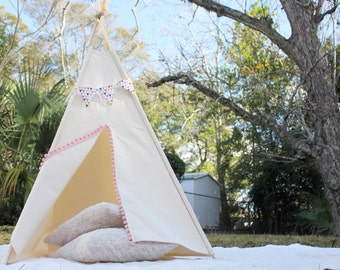 Teepee - play tent - kids teepee - pompom - canvas - childrens gift - tipi - play house -pet teepee -dog teepee -pet tent -photoshoot prop