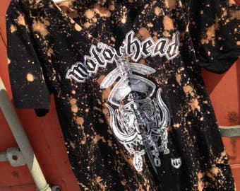 Motorhead large bleached, distressed, and cut out tee