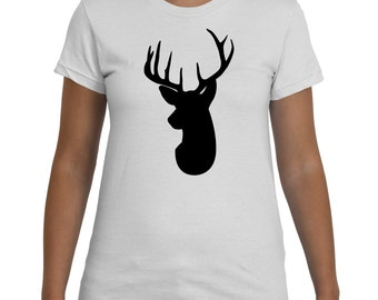 Deer Head Silhouette Black White TShirt Women