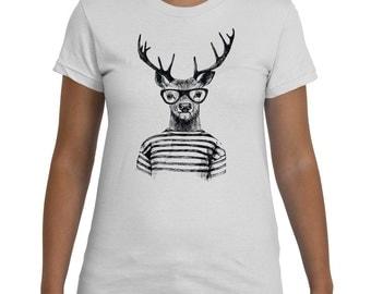 Hipster Deer Black White TShirt Women