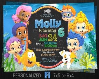 Bubble Guppies Invitation, Bubble Guppie Birthday Party, Fish, Bubbles, Under sea, Water, Cartoon, Personalized, Printable, Digital File