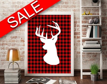 Wall Art Deer Digital Print Plaid Poster Art Deer Wall Art Print Plaid Home Art Plaid Home Print Deer Wall Decor Deer holiday printable