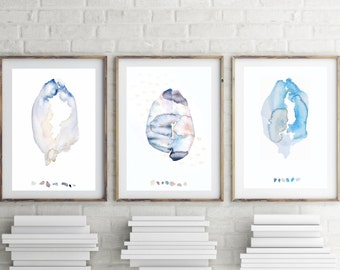 Set of 3 Prints, Abstract, Minimalist, Modern, Print Set, Watercolor, Gallery Wall Set, Print, Set of 3 Wall Art, Zen Art Wall Decor, Pastel