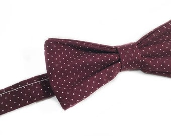 Burgundy bow - bow tie to pea-knot White Butterfly and bordeaux-preattache bowtie