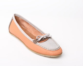 Women's leather SHOES, women's loafers, orange flat SHOES, orange flats, orange loafers, leather loafers, leather flats, rubber sole shoes