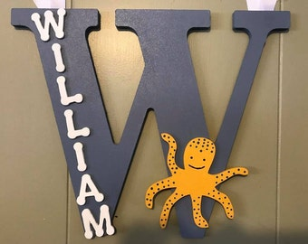 Initial Hanging Letter, William, Baby Boy, Kids and Nursery Decor.