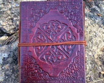Leather Rustic Journal - Leather Celtic Love Knot Journal - Mini Leather Travel book - Medieval Journal