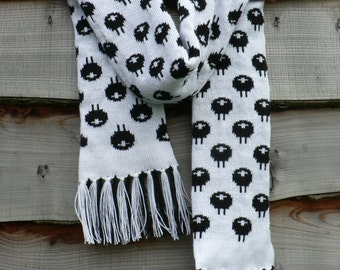 Patterned Sheep Knitted Scarf, Black and White, Hand finished, Ladies Scarf, Christmas gift, winter fashion
