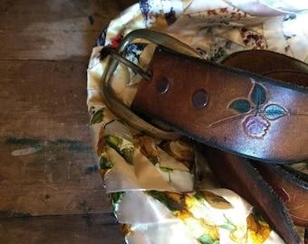 Vintage boho hand tooled leather belt, roses