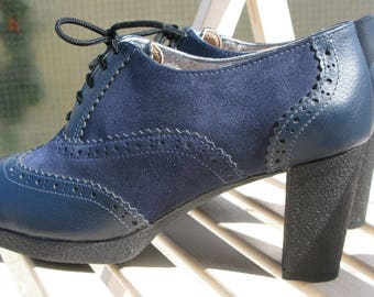 Audrey H.Blue Oxford boots- womens boots- blue shoes-heels-Leather boots-handmade- oxford shoes women-womens oxfords-oxford-suede-boots