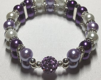 Double banded Rhinestone Ball (purple)