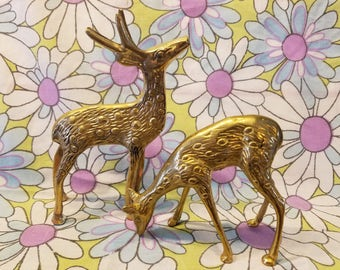 Pair of small Brass Deer