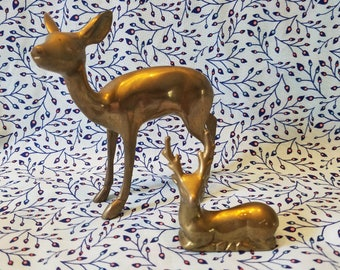 2 small Brass deer Figurines