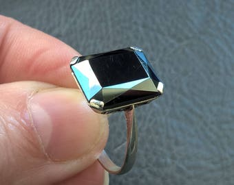 Antique 1930's Art Deco Rectangular Hematite Sterling Silver Ring