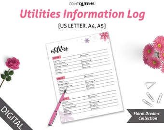 Utilities Information Log, Utilities Service Contact List, Utilities Tracker, Utilities  Log, A5 Planner Pages, A4 Ring Binder, Filofax A5