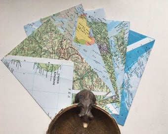 Set of C6 Handmade Map Envelopes // Pen Palling / Wedding Invitations // Gifts //
