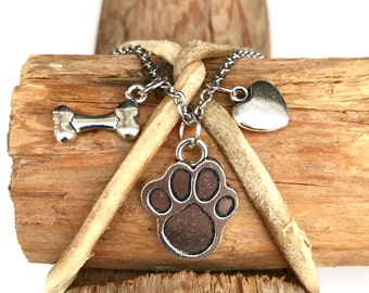 Dog Lovers Charm with Titanium Chain by Lolly Llama - Perfect Dog Lover Pendant Necklaces