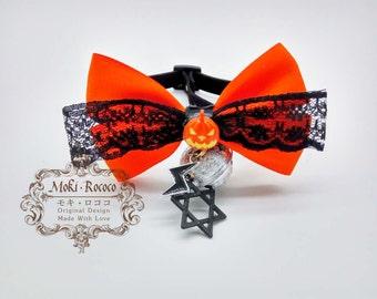 MokiRococo Halloween Orange Pumpkin Collar