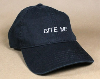 BITE ME Black Pink White Dad Hat Dad Cap Baseball Hat Baseball Cap Embroidered Low Profile Casquette Strap Back Adjustable Cotton