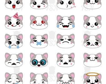 Cat emoticons | Etsy