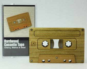 Wood Cassette Tape Replica - Unique Art Object - Custom Engraving Available - 1980's Old School Style
