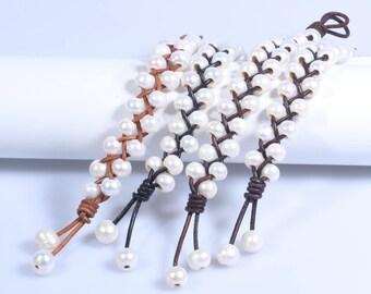 Leather Pearl Bracelet,Pearl Leather Bracelet,White Pearl Bracelet,Freshwater Pearl Jewelry,Pearl Yoga Bracelet,Womens Leather Bracelet