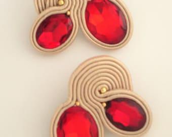 soutache earrings cherry Soutache Earrings, Handmade Earrings, Hand Embroidered, Soutache Jewelry, Handmade from Italy