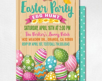 Easter Party Invitations, Egg Hunt Easter Invites, Easter Egg Hunt, Egg Hunt Party, Egg Hunt Invitation, Easter Party, Happy Easter, DI-7005