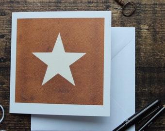 Blank art card//photo card//Star on leather card, art card, birthday card, occasion card, blank card, thank you card, cards for men, frameab