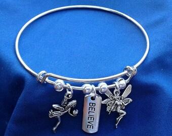 I believe in Fairies Adjustable Charm Bracelet