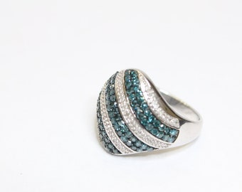 1.50ctw Blue and White Diamond 925 Sterling Silver Ring Size 6