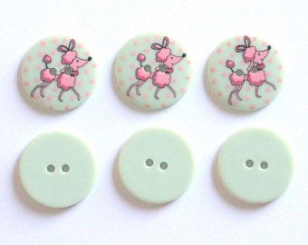Fancy Pale Green Buttons with Pink Poodles