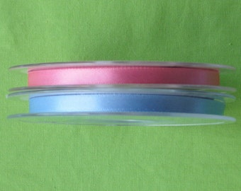Double Sided Satin Ribbon in Blue or Pink, 7 mm