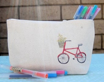 Watercolor illustration printed canvas pouch, pencil pouch, cosmetics pouch,
