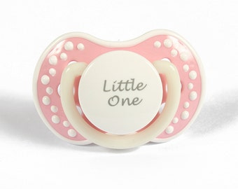 DDLG Adult baby pacifier. ABDL pacifier with the words little one. Glow in the dark adult dummy in baby pink and white - nuk 3