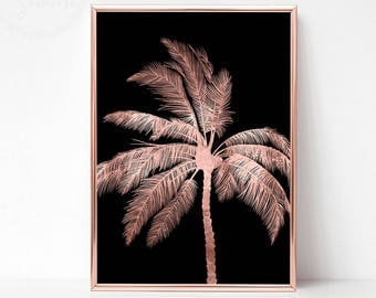 Rose Gold Wall Decor, Rose Gold Tropical Wall Poster, Tropical Printable, Palm Print, Palm Downloads, Tropical Wall Art, Palm Tree Print